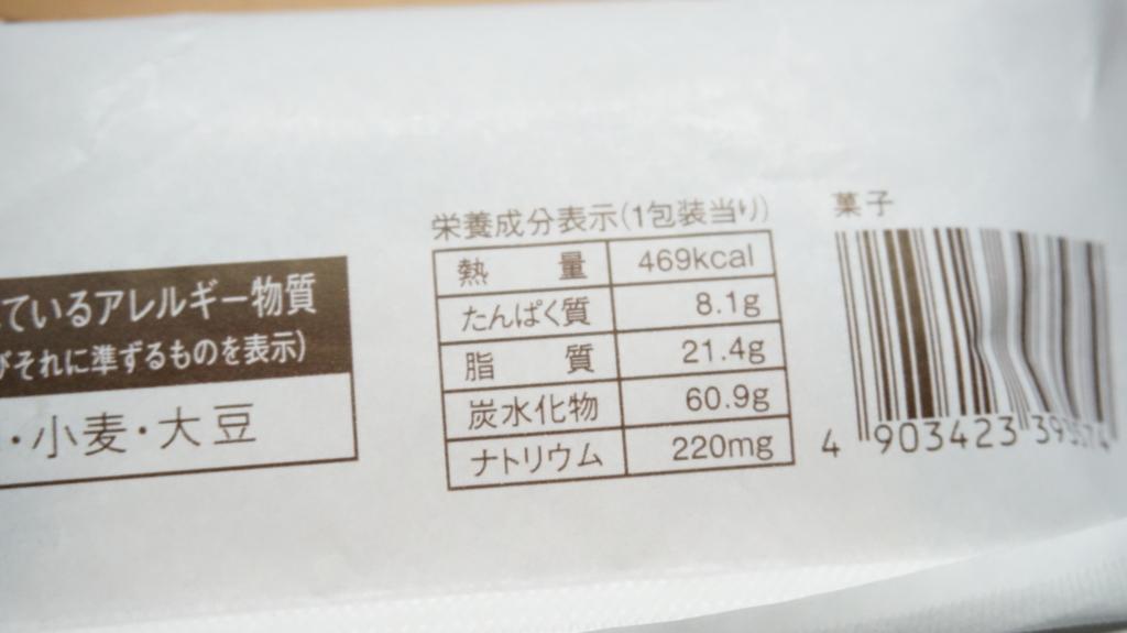 カカオ香るチョコメロンパン 栄養成分表示