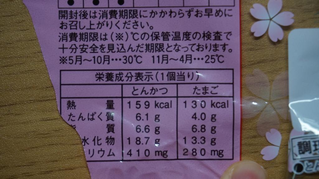 ランチパックとんかつとたまご 栄養成分表示