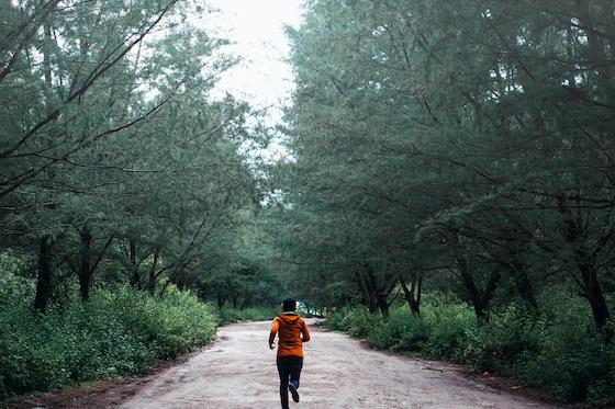 森の中をランニングする人