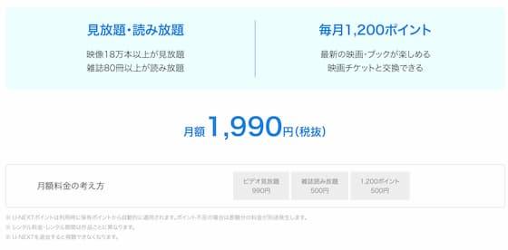 U-NEXTの月額料金表