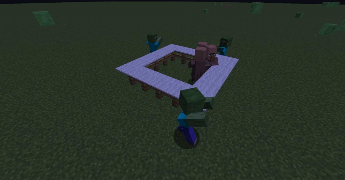 村人の周りにゾンビをスポーンさせた