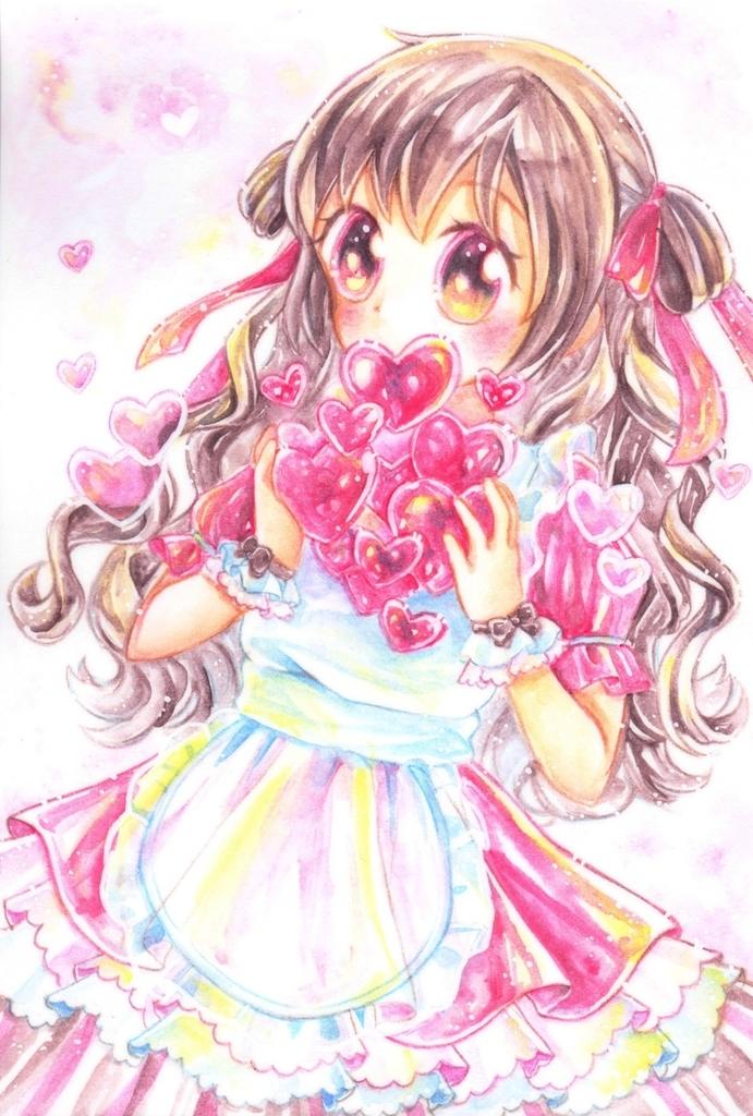 水彩色鉛筆でバレンタインな女の子 柚子風呂