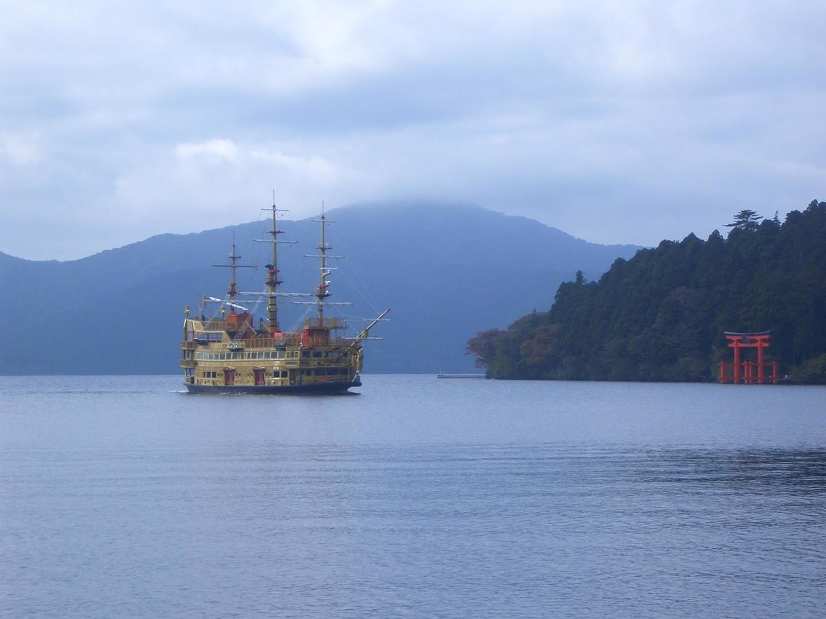 芦ノ湖 海賊船 箱根神社の鳥居