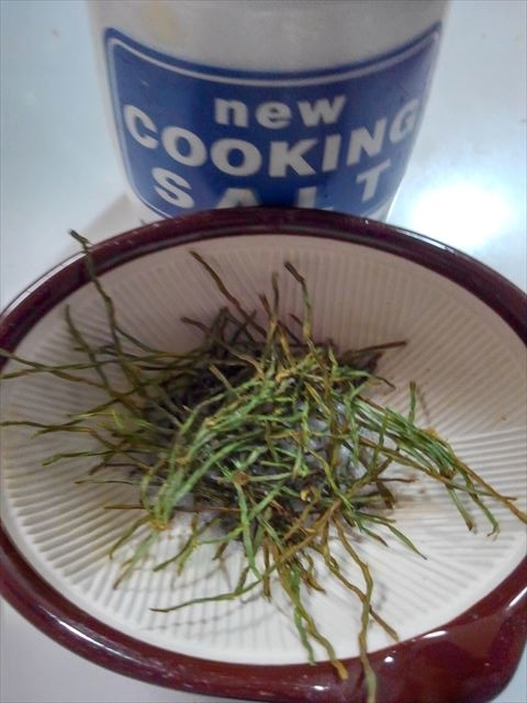 スギナと塩をすり鉢ですりつぶす。