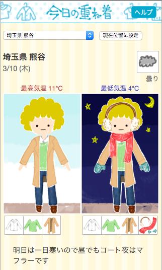 3/10の熊谷の天気と服装の目安