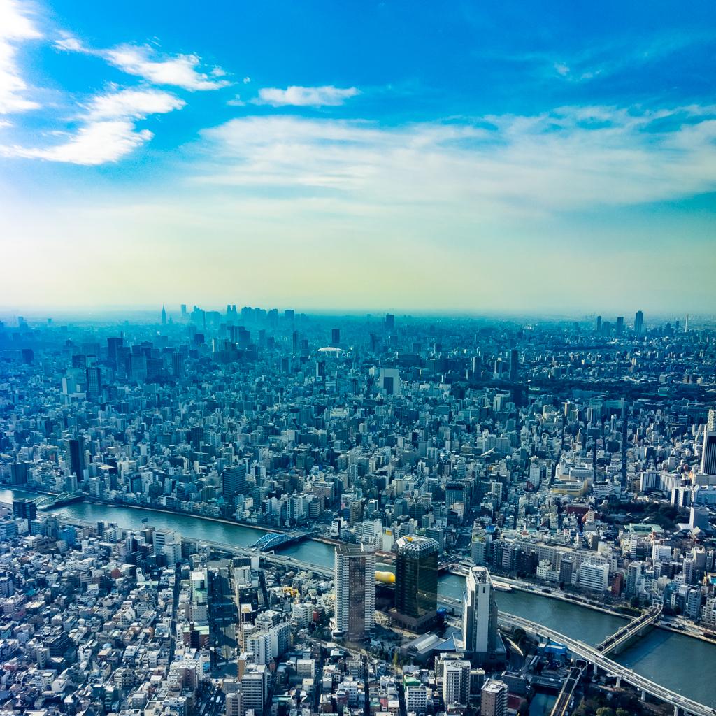 スカイツリーからの東京の西側を望む