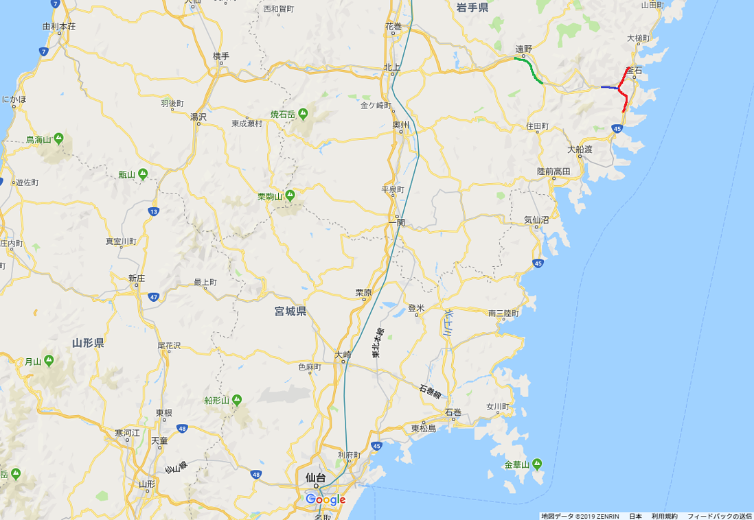 釜石道・三陸道開通位置