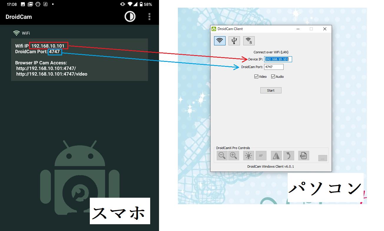 Droidcam スマホ画面とPC側画面