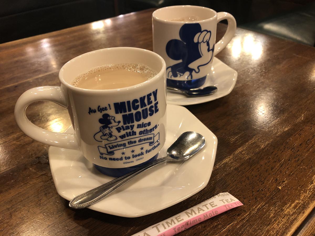 ミッキーのカップ! 薄めなカフェオレ! それこそロジェ!