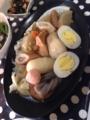 おでん 豚肉ともやしと小松菜のオイマヨ炒め ししゃも たけのことわか