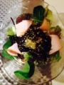 小松菜と枝豆ガンモの煮浸し ハッシュドビーフonチーズウインナー も