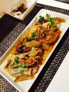 かぼちゃとウインナーの和風カレー煮 イカ納豆 豆腐バーグ ごぼうの甘