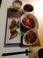 鯵開き まいたけのお吸い物 チャーシューのゴーヤチャンプル 水菜とハ
