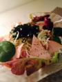ゴーヤxもやしx卵 酢豚 冷:ピーマン わかめとカニカマのサラダ