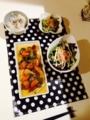 ゴーヤチャンプル 酢豚 わかめとカニカマのサラダ
