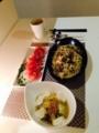 白菜とツナのクタクタ煮 和風パスタ 生ハムオニオンサラダ