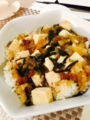 麻婆豆腐x冷ニラ 味噌汁 レンコンはさみ揚げ