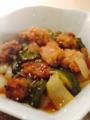 茄子と白ネギの豚味噌炒め オクラとエノキのかきたま汁 酢豚
