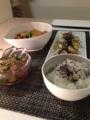 小松菜とカリカリ厚揚げのカレー炒め 山芋バター醤油焼き オクラとと