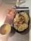 しめじのスープパスタ オニオンスライスとハムのサラダ 卵とかに玉の