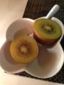 カツカレー ハムとオニオンスライスのサラダ オクラ納豆