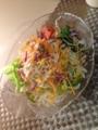 カレー xコロッケ 卵オニオンスープ トマトとチーズのサラダ