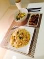 小松菜と豆腐のチャンプル チャーハン ミートボール