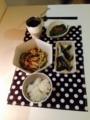 蒸鶏と小松菜のナムル さんま塩焼き えのき麻婆茄子