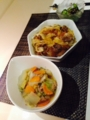 白菜xツナクッタリ煮 きゅうり昆布の浅漬 牛丼