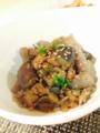 かつおたたき たけのこ土佐煮 なすと蒟蒻のひき肉味噌炒め