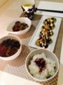 なすと蒟蒻のひき肉味噌炒め 野菜バーグお好み風 セロリと人参の味噌