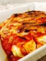 @サラダ菜とベーコンのサラダ @木綿豆腐のラザニア