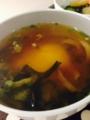 @わかめときゅうりの酢の物 落とし卵の味噌汁 野菜バーグ