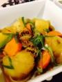 @カレー風味肉じゃが シシャモの生姜煮付 @小松菜とツナの和え物