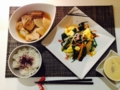 茶碗蒸し @三色野菜の卵炒め 大根と焼き豆腐の煮物