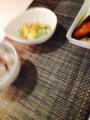 @ポテトサラダxきゅうりxウインナー ブリの照り焼き ソーセージもやし