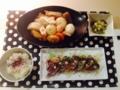 おでん+3days+ オニスラのせカツオのたたき 大根菜あえ納豆