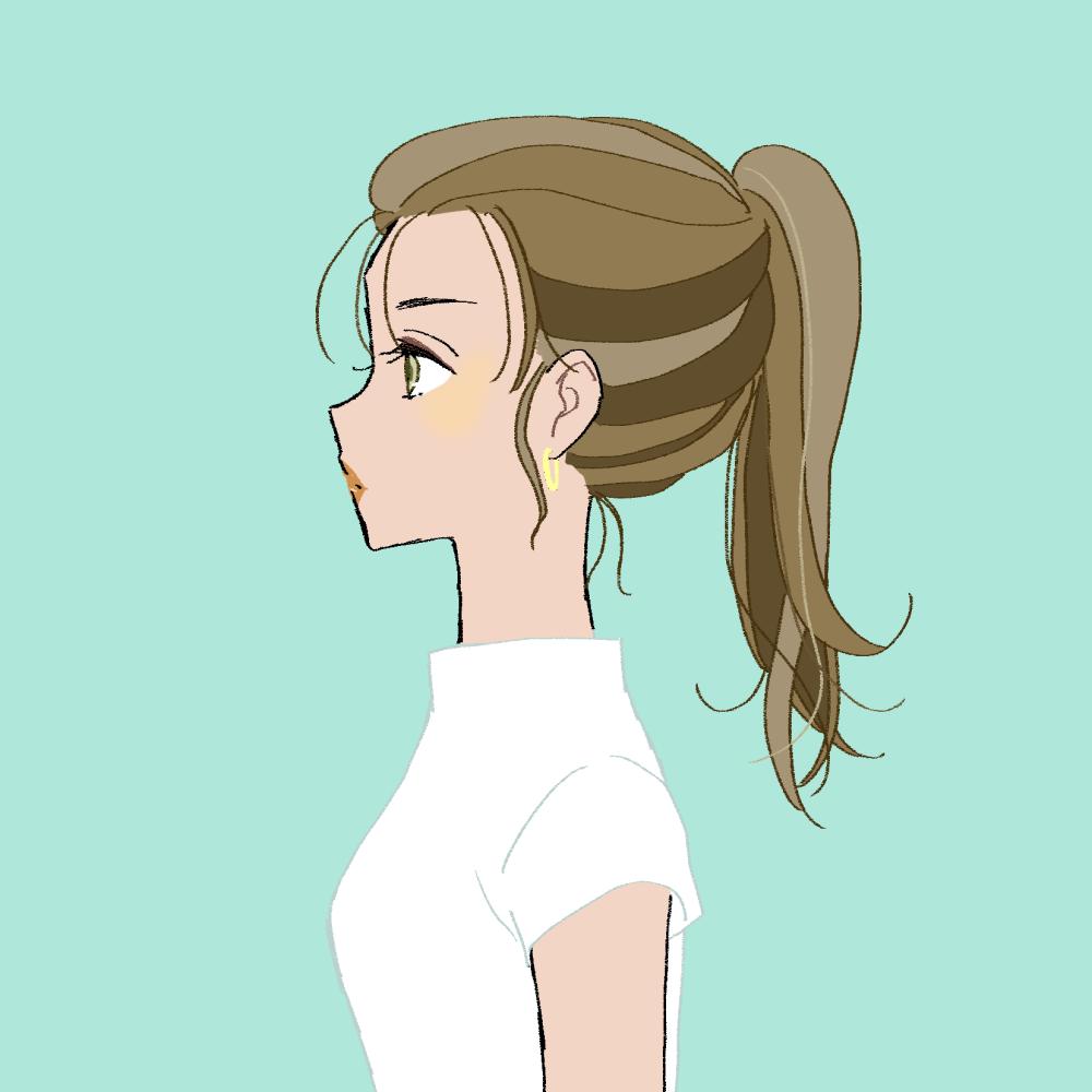 ポニーテール×日焼けの女の子のイラスト素材