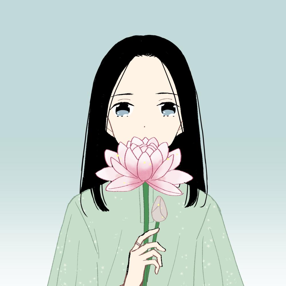 蓮の花と女の子のイラスト素材