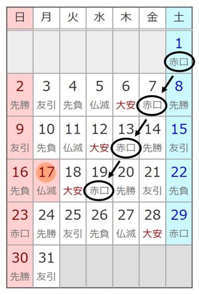 六曜(先勝・友引・先負・仏滅・大安・赤口)の割振り