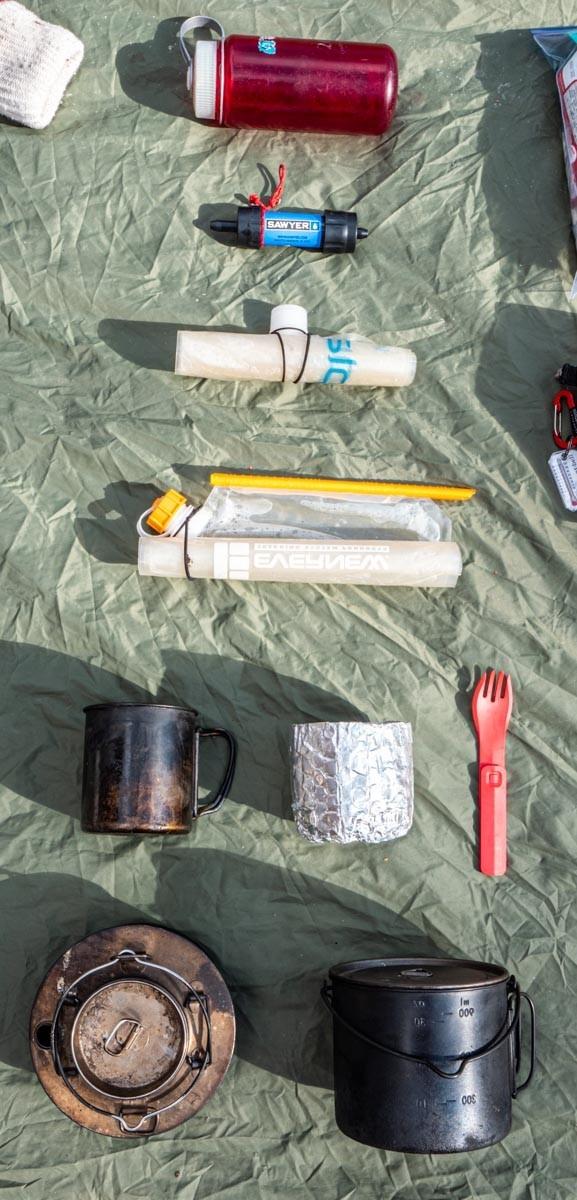 バックパックキャンプの調理道具