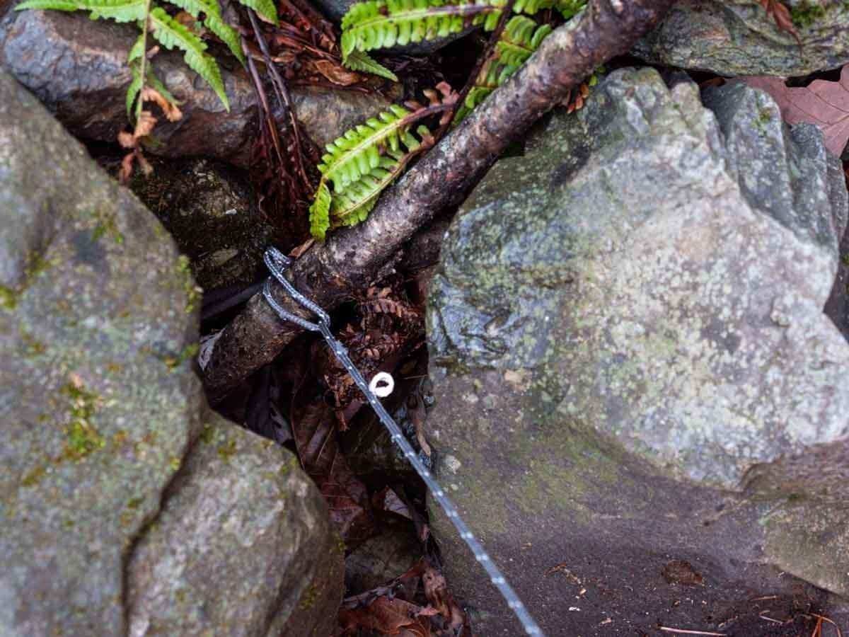 木と石でロープを固定