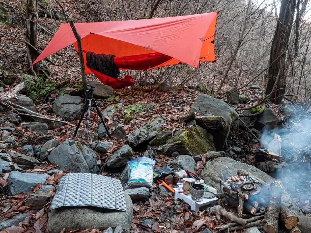 森の中でキャンプ