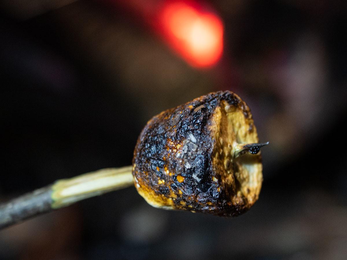 焚き火で焦がしたマシュマロ