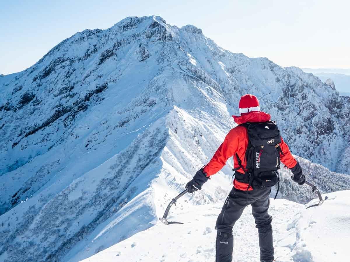 赤岳と自撮り