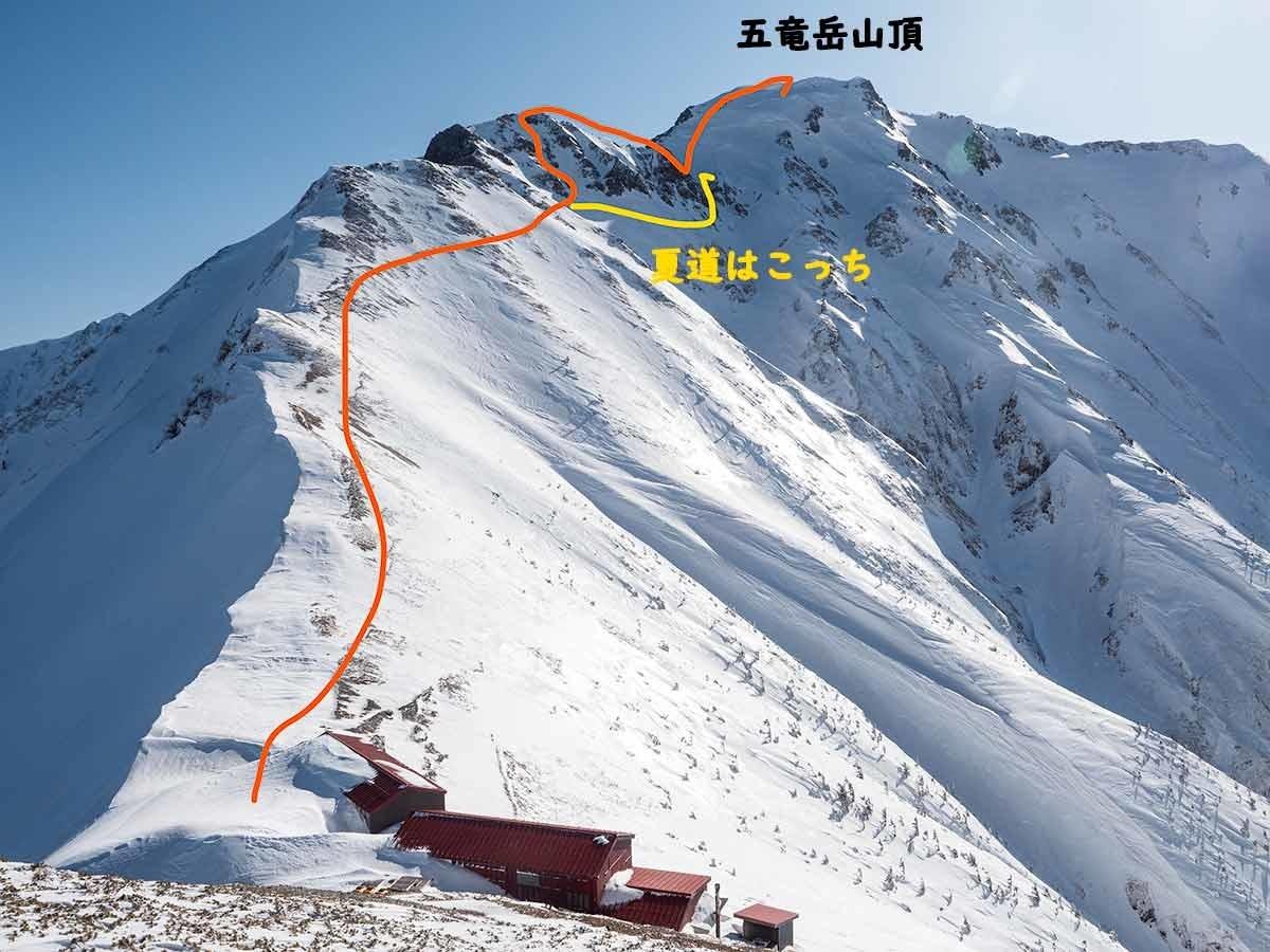 五竜山荘から五竜岳へのアクセス