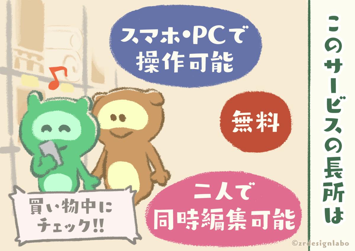 スマホ・PCで操作可能で無料・カップルで同時編集可能