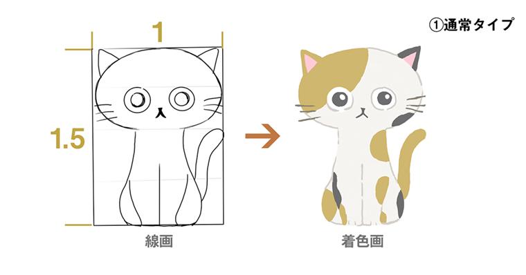 iPadで猫のイラスト通常タイプ完成図