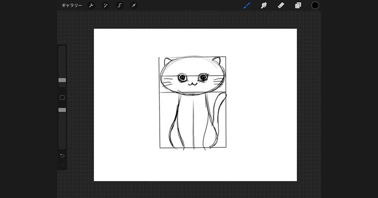 iPadでリアルタイプ / ラフ作成手順6 猫の顔