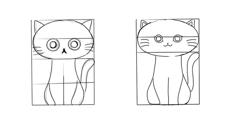 iPadでリアルタイプ / 線画猫イラスト 比較